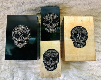 Choice of Black or Gold Leaf Lacquer Boxes with Dazzling Beaded Skulls