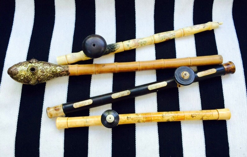 Asian Antique Pipes in Choice of Hand-Carved Bone /& Bamboo Styles.