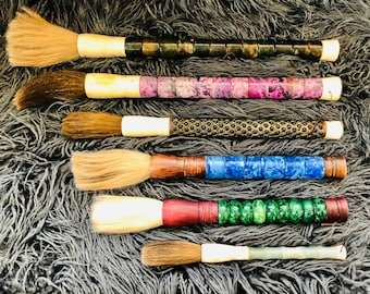 Vintage Japanese Calligraphy Brushes in Choice of Colors with Bone, Wood, & Semiprecious Stones.