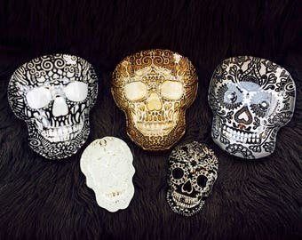 Handmade Glass Skull Tray with Real Silver Leafing in Choice of White, Black, or Gold.