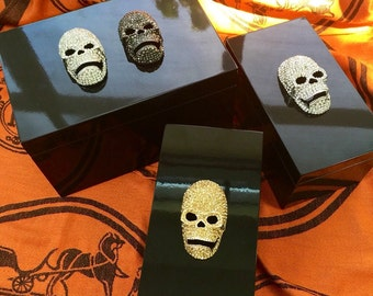 Swarovski Crystal Skulls on Black Lacquer Boxes in choice of Metal & Size.