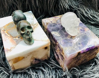 Choice of Stunning Amethyst, Quartz, & Agate Boxes with Skull Handles