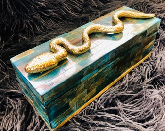 Couture Box with Teal Colored Bone Tiles, Brass Detailing, & Gorgeous Brass Snake/Serpent Adornment.