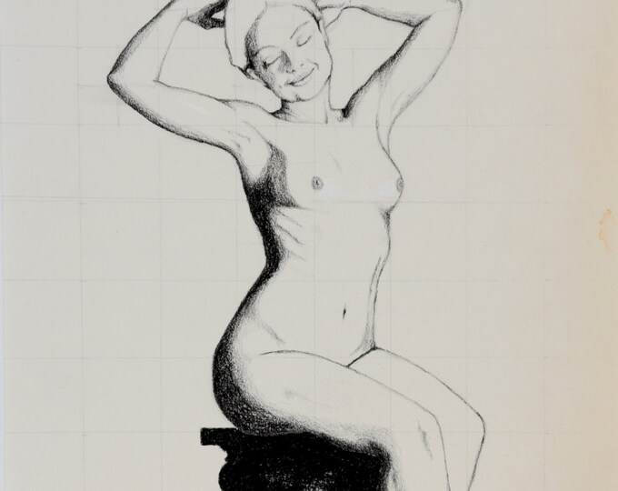 "Fine Art PRINT*, charcoal drawing on antique paper; nude woman, sitting on pedestal; ""Bliss"""