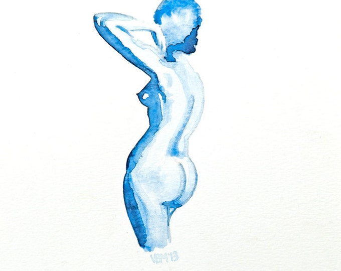 "Print, Nude figure, blue Watercolor, woman, ""Posing for the Statue"""