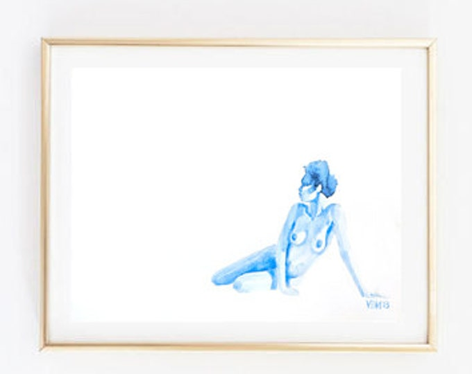 "Fine Art Print, Blue Watercolor, Nude Woman Sitting Down, ""Colorblind,"" 8x10"