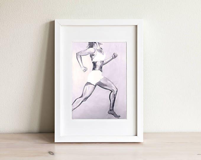 "Print of ""Runner, Runner""; strong woman running, grayscale"