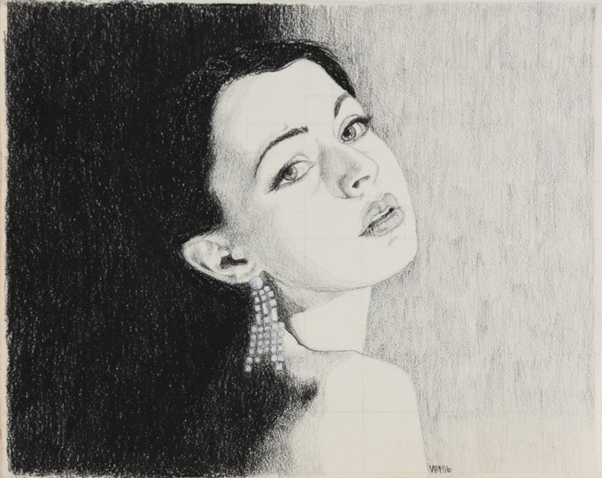 "Print** Charcoal drawing, portrait of woman with dangling earring, ""She Implores,"" 8x10"