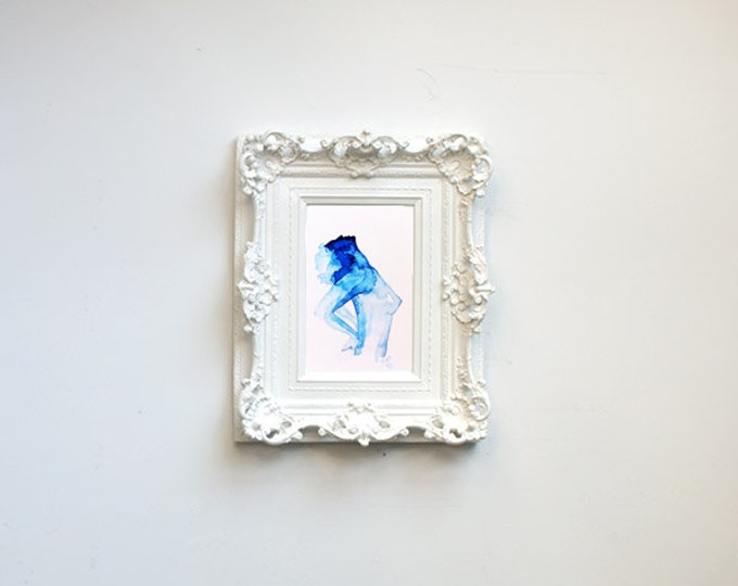 "Fine Art print, blue Watercolor, woman stretching, profile, ""Charlena,"" 8x10"