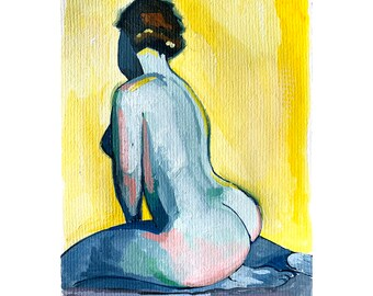 Still Here art print, Colorful nude painting, Abstract art