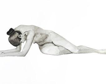 Hannah, large-scale fine art print, nude woman lying down, watercolor