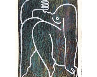 Juno, Fine Art Print, Abstract Figure, Botanical Art