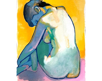 Fish Bowl art print, Colorful nude painting, Abstract Art