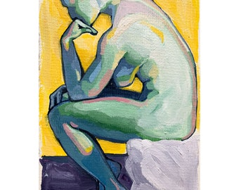 These Walls, colorful art print, figure painting, nude woman