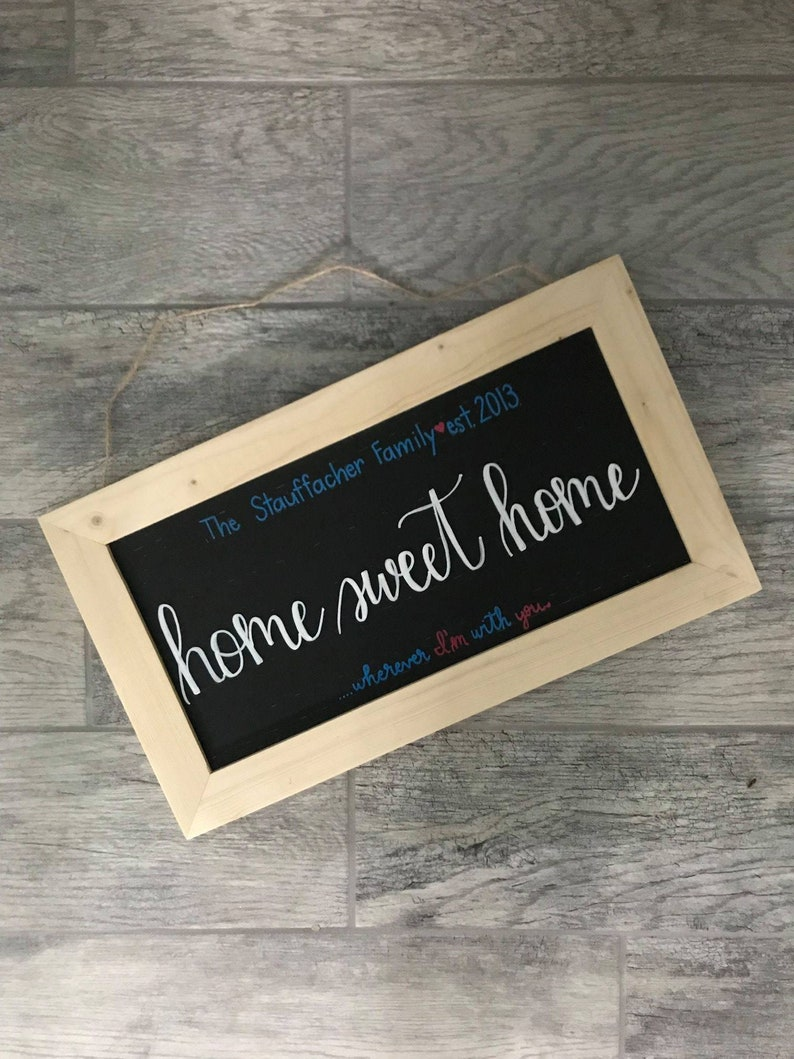 Wedding Present Housewarming Present Wedding Shower Gift Home Sweet Home Hanging Sign Last Name Anniversary Year Sign