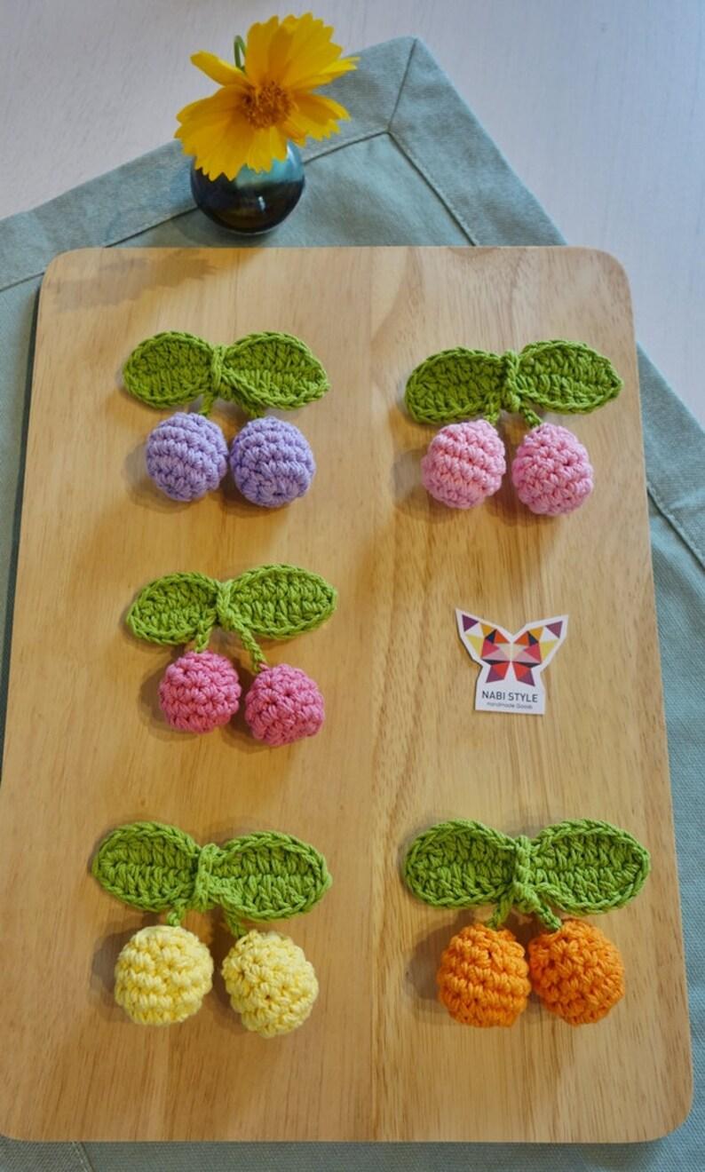 Crochet Cherry hairclips_babygirl hairpin_girl hairpin image 1