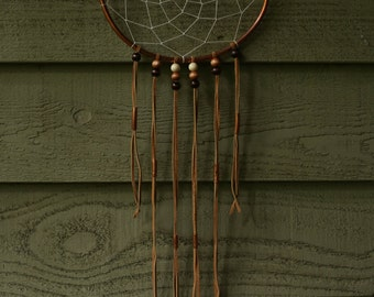 copper dream catcher with leather details dreamcatcher / dream catchers / wall hanging / wall decor
