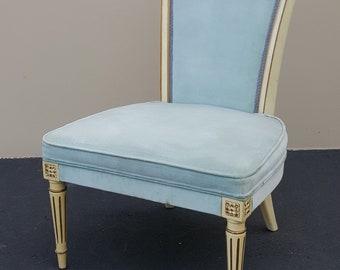 HOLLYWOOD REGENCY Slipper Chair Vintage Italian Slipper Chair Boudoir Chair  Pale Blue Velvet Chair Antique Gold Accent Excellent Condition