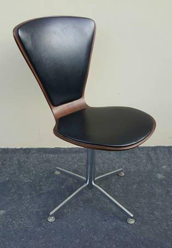 1960s Danish Modern Walnut U0026 Leather Thin Pad Task Chair Mid Century Modern  Danish Modern Task Chair Arne Jacobsen Thin Padded Task Chair