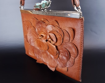 5f4ebc1f1d9 Vintage Rare Valentino Garavani Natural Brown Leather With Blue Satin Inner  Crystal Flower Clip Flower Handbag Offered by Gallery SW19