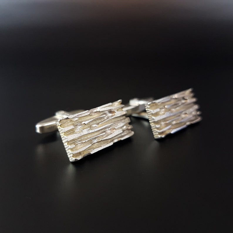SOLD Modernist German Scandinavian  835 Silver Rectangle Tree Bark Cufflinks With French Import Cuff Links Offered by Gallery SW19
