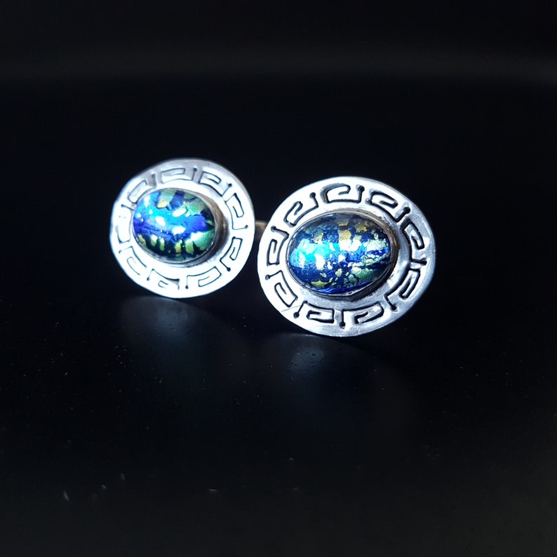 Vintage Retro Wimbledon Gallery SW19 Vintage Modernist Mexican Taxco 925 Sterling Silver Glass Fire Opal  Cufflinks