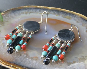 Peruvian Onyx and Turquoise Earrings