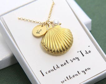 Personalized Locket, Sea Shell Locket Necklace, Sea Shell Necklace, Seashell Locket, Initial Locket, Personalized Jewelry, Bridesmaid Gift