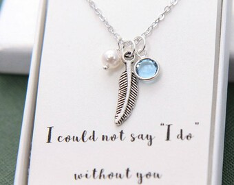 Bridesmaid Necklace, Bridal Party Gifts, Bridesmaid gift, Bridesmaid Jewelry,Feather Necklace, Pearl Feather Necklace, Personalized Necklace