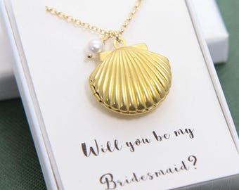 Sea Shell Locket Necklace, Sea Shell Necklace, Seashell Locket Pendant, Shell Locket, Bridesmaid Necklace, Beach Wedding, Bridesmaid Gift