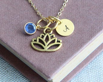 Lotus Necklace, Yoga Necklace, Motivational Necklace, Inspirational Necklace, Personalized Yoga Necklace, Birthstone Necklace, Gift for Her