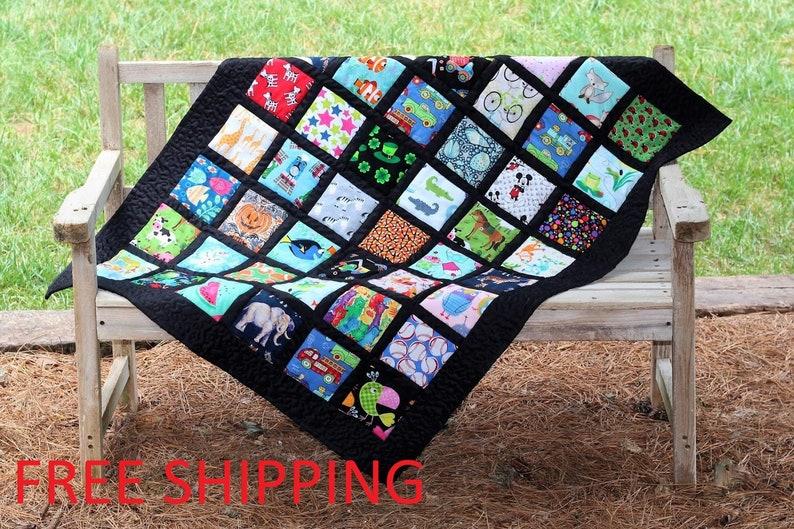 I Spy Quilt  Tummy Time Quilt  Children/'s Blanket