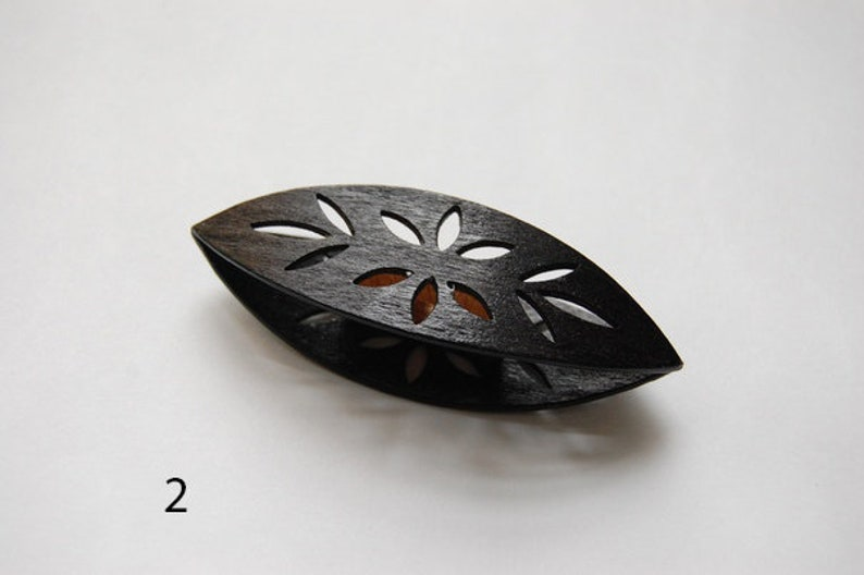 Wooden Tatting Shuttle Hand Made in Ebony Decorated With Cuts Out