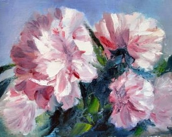 rose peonies, Pink peony flower painting ORIGINAL oil still life Pink peony, Oil on canvas, pink peony, Fine art, Gallery quality