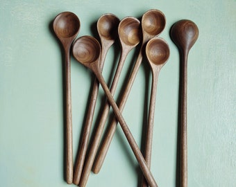 Handcarved Wooden Spoon, Tall Tasting Spoon, Walnut Wood Spoon