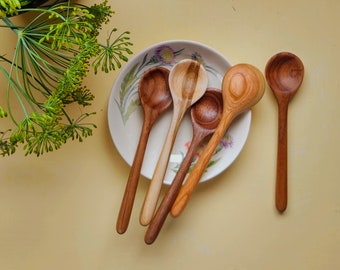 Handcarved Wooden Spoon, Small Condiment or Jam Spoon, Salt and Spice Spoon