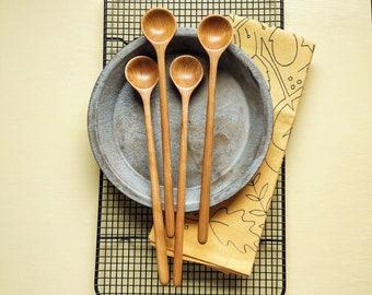Hand Carved Spoon, Wooden Tasting Spoon, Long Handled Spoon