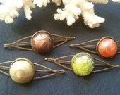 Single Bronze Resin Cabochon Hair Slide Grip Clip Pin Metallic Terrarium Moss Lichen Boho Bohemian Hippy Natural Vibes Gift Party Accessory
