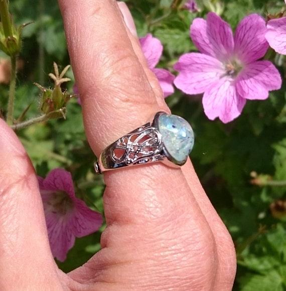 14mm Fire Opal Cabochon Ring Adjustable Free Size Sizeable Silver Plated Brass Filigree Celtic Art Nouveau Setting Boho Hippy Goa Psy