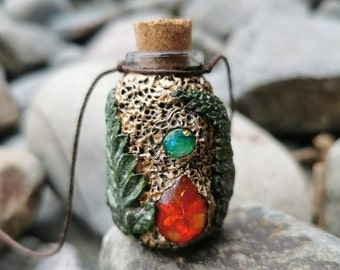 Glass Poison Vial Bottle Necklace Made From Natural Earth Clay & Eco Resin
