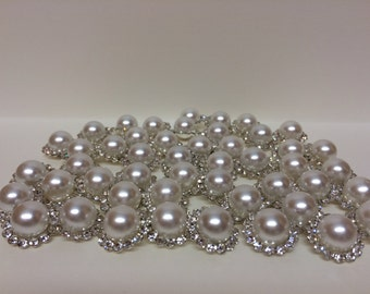 10 Pearl and Rhinestone Findings - Favors, Decor, Crafts, Headbands, Hair Bows, and more!