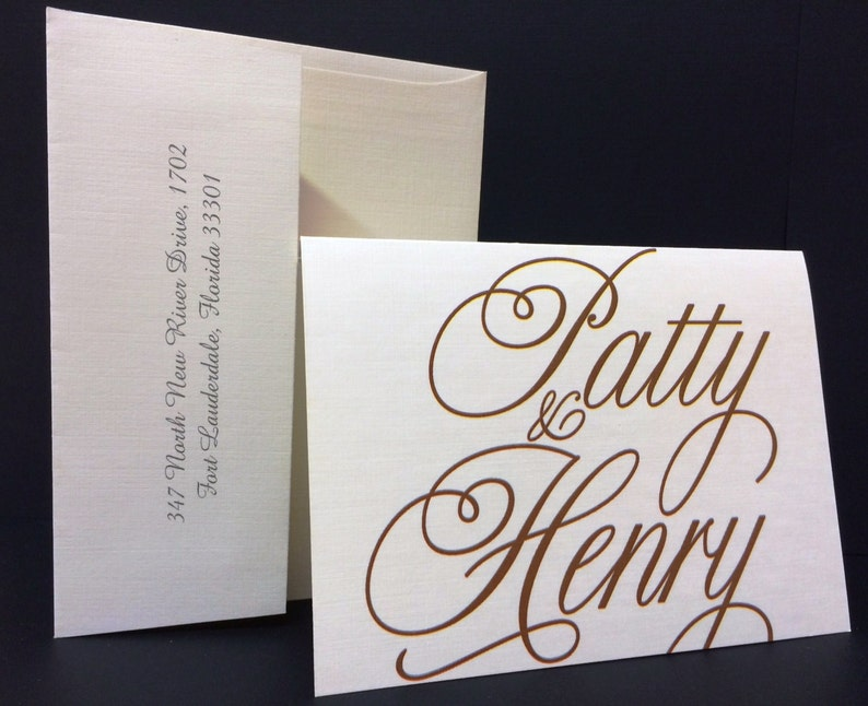 25 Personalized or Monogrammed Stationary Sets with Envelope /& Return Address Printed Wedding Birthday Events CUSTOM COLORS Thank You Card
