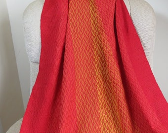 Red, Orange and Yellow Cotton Lap Blanket, Custom Afghan, Snuggle Blanket, Small Throw, Knee Blanket Made to Order