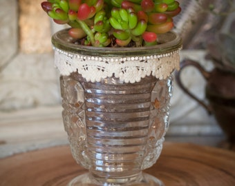 VINTAGE GLASS for SUCCULENTS, embellished rhinestones lace & velvet ribbon