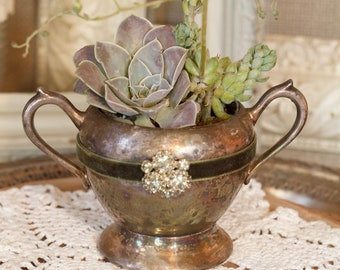 VINTAGE SILVER sugar bowl for SUCCULENTS, embellished rhinestones & velvet ribbon