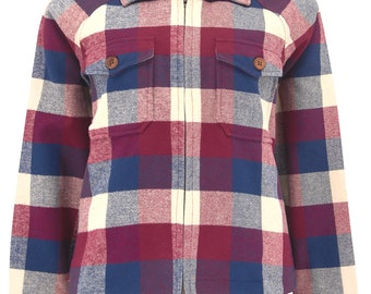 """The """"Bobby Jacket"""" in Woven Navy & Wine Lightweight Wool, Classic Rockabilly Style"""