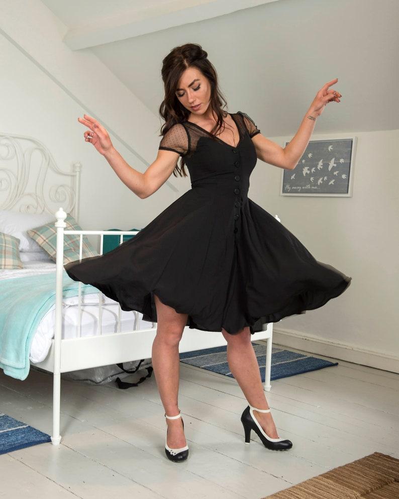 06da4be2dcb 1950s Vintage Betty Swing Dress in Black with Net