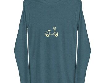 Vespa Unisex Long Sleeve Tee. Gift for Italy Lover. Travel. Cozy long sleeve tees. Minimalist.