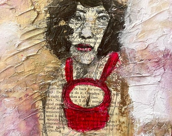 Learning English - mixed media painting by Annie Wood.
