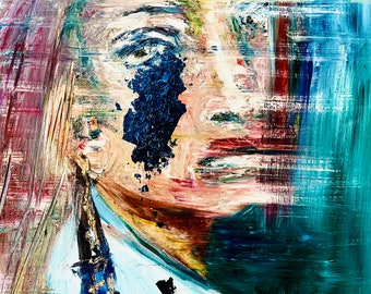 Ariella - original oil painting. Figurative original art by Annie Wood. Hamsa.